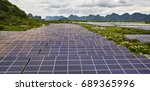 mountain solar panels in the... | Shutterstock . vector #689365996