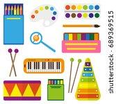 set of children's toys for the... | Shutterstock .eps vector #689369515