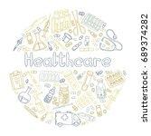 hand drawn healthcare doodle.... | Shutterstock .eps vector #689374282