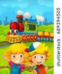 cartoon train scene with happy... | Shutterstock . vector #689394505