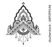 henna tattoo flower template.... | Shutterstock .eps vector #689399146