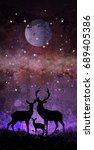 deer family silhouette in front ... | Shutterstock . vector #689405386
