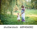 young beautiful pregnant woman... | Shutterstock . vector #689406082