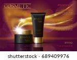 golden black skincare cream... | Shutterstock .eps vector #689409976