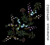 embroidery trend floral pattern ... | Shutterstock .eps vector #689410012