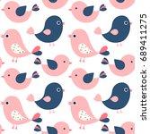 cute vector seamless pattern...   Shutterstock .eps vector #689411275