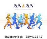 people running marathon ... | Shutterstock .eps vector #689411842