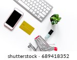 mobile shopping. shopping cart  ... | Shutterstock . vector #689418352