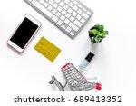 mobile shopping. shopping cart  ...   Shutterstock . vector #689418352