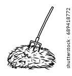 hay and barrow   cartoon vector ... | Shutterstock .eps vector #689418772