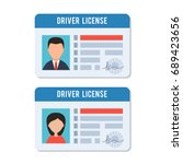 man and woman driver license.... | Shutterstock .eps vector #689423656