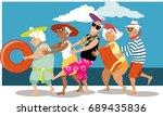 group of active seniors dancing ... | Shutterstock .eps vector #689435836
