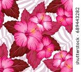 summer hawaiian seamless...   Shutterstock .eps vector #689443282