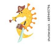 Funny Cartoon Seahorse Pirate...