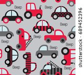 colorful toy vehicles seamless... | Shutterstock .eps vector #689452396