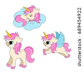 cute unicorn clipart collection ...   Shutterstock .eps vector #689454922