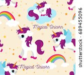 cute unicorns seamless pattern  ... | Shutterstock .eps vector #689455096