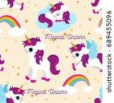 cute unicorns seamless pattern  ... | Shutterstock .eps vector #689455096
