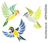 stylized birds   chickadees | Shutterstock .eps vector #689460046