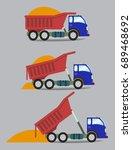 a truck unloads cargo in series ... | Shutterstock . vector #689468692