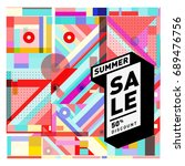 summer sale colorful style... | Shutterstock .eps vector #689476756