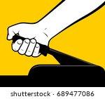 male hand using handbrake | Shutterstock .eps vector #689477086