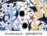 seamless pattern with dangerous ... | Shutterstock .eps vector #689480476