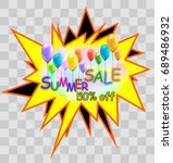the words  summer sale  hang on ... | Shutterstock .eps vector #689486932