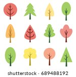 cute tree set collection... | Shutterstock .eps vector #689488192