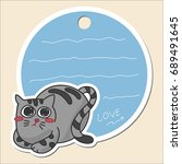 cute kitty cat tag banner or... | Shutterstock .eps vector #689491645