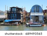 funny floating houses in... | Shutterstock . vector #689493565