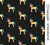 golden unicorn with a rainbow... | Shutterstock .eps vector #689499112