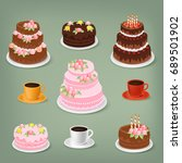 vector sweet cakes and cups of... | Shutterstock .eps vector #689501902