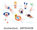 people swimming and rests in... | Shutterstock .eps vector #689504458