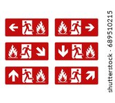 fire exit vector signage | Shutterstock .eps vector #689510215