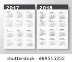 calendar template for 2017 and... | Shutterstock .eps vector #689515252