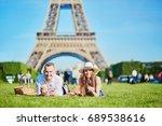 romantic couple having picnic...   Shutterstock . vector #689538616