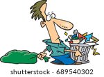 cartoon man taking out the trash | Shutterstock .eps vector #689540302