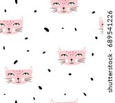 seamless pattern with pink cats.... | Shutterstock .eps vector #689541226