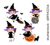 Cute Witch Vector Set  Halloween