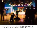 blurred silhouette cameraman... | Shutterstock . vector #689552518