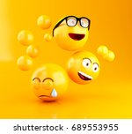 3d illustration. emojis icons... | Shutterstock . vector #689553955
