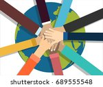 young people putting their... | Shutterstock .eps vector #689555548
