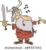 cartoon viking man singing | Shutterstock .eps vector #689557342