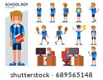 school boy character in... | Shutterstock .eps vector #689565148