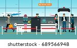 airport security checkpoint... | Shutterstock .eps vector #689566948