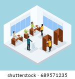 isometric voting process concept | Shutterstock .eps vector #689571235