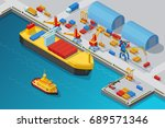 isometric seaport and dock... | Shutterstock .eps vector #689571346