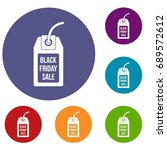 black friday sale tag icons set ... | Shutterstock . vector #689572612