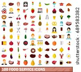 100 food service icons set in... | Shutterstock . vector #689583382